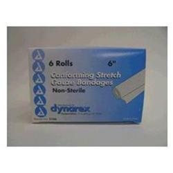 Dynarex Stretch Gauze Bandages, Non-Sterile, 6 x 4.1 yards, 4 Boxes of 6