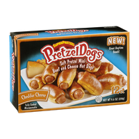 SuperPretzel PretzelDogs Soft Pretzel Mini Beef and Cheddar Cheese Hot Dogs - 12 CT