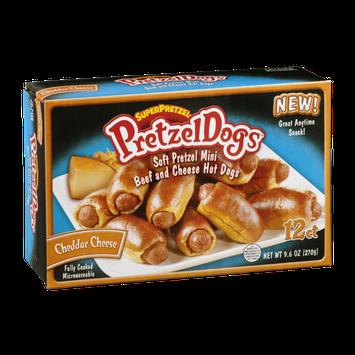 SuperPretzel PretzelDogs Soft Pretzel Mini Beef and Cheddar Cheese Hot Dogs - 12 CT