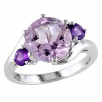 Amour Silver Rose de France & Amethyst Ring, 6, Purple, 1 ea
