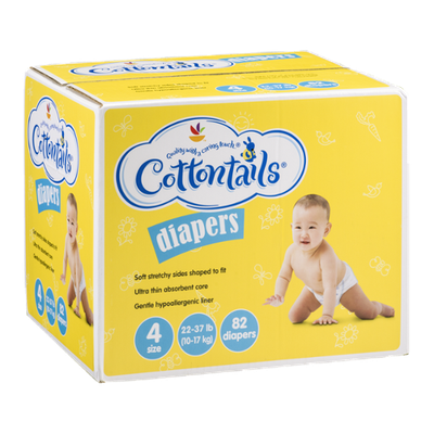 Ahold Cottontails Diapers 4 Size (22-37 lb) - 82 CT