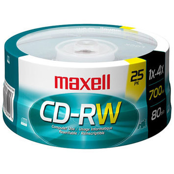 Maxell 630026 Maxell CD-RW Discs, 700MB/80min, 4x, Spindle, Silver, 25/Pack