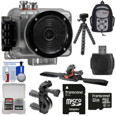 Intova Nova HD Waterproof Sports Video Camera Camcorder with 32GB Card + Bike Handlebar & Vented Helmet Mounts + Backpack + Tripod + Kit