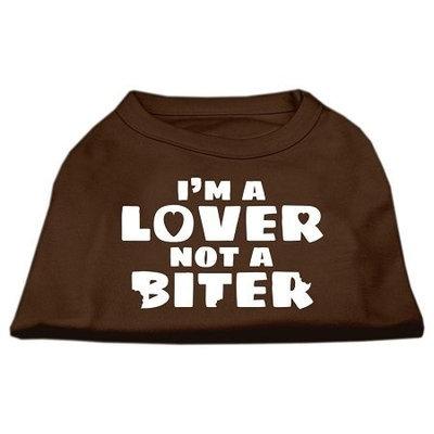 Ahi I'm a Lover not a Biter Screen Printed Dog Shirt Brown XL (16)