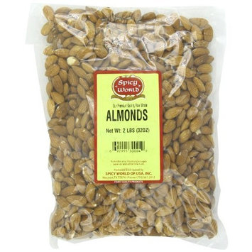 Spicy World Almonds Whole, 2-Pound Pouches (Pack of 2)