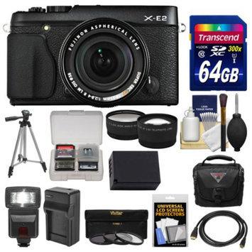 Fujifilm X-E2 Digital Camera & 18-55mm XF Lens (Black) with 64GB Card + Case + Flash + Battery + Tripod + Tele/Wide Lens Kit