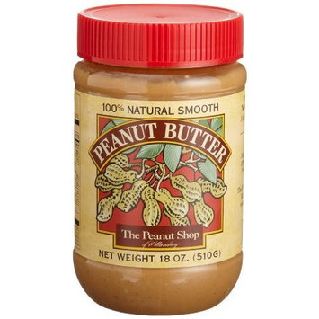 The Peanut Shop of Williamsburg Peanut Butter, Salted Smooth, 18-Ounce Plastic Jars (Pack of 4)