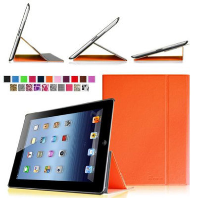Fintie Smart Book Cover Case Supports Three Viewing Angles for Apple iPad 2, iPad 3 & iPad with Retina Display, Orange