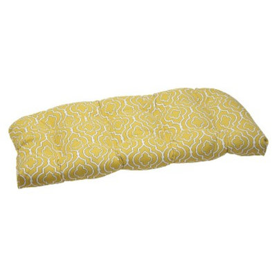 Pillow Perfect Outdoor Wicker Loveseat Cushion Set -Yellow/White Starlet