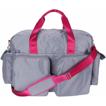 Trend Lab Deluxe Duffle Diaper Bag - Grey and Magenta Pink by Lab