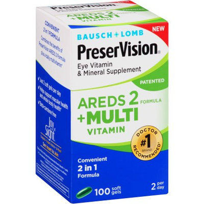 Bausch & Lomb Bausch + Lomb PreserVision AREDS 2 Formula + Multivitamin Eye Vitamin & Mineral Supplement, 100 count