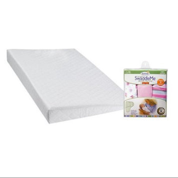DexBaby Safe Sleep Inclined Foldable Crib Wedge with SwaddleMe Infant Wraps, Girly Bug