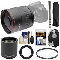 Vivitar 800mm f/8 Mirror Lens with 2x Teleconverter (=1600mm) + Monopod + Backpack + Filter Kit for Nikon D3200, D3300, D5200, D5300, D7000, D7100, D610, D750, D810 Camera