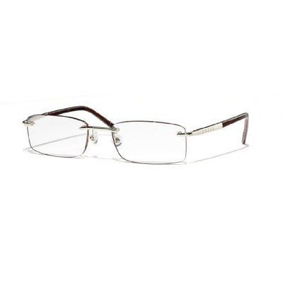 Cross Byron Collection Rimless Reading Glasses with Polished Silver Appointments and Dark Tortoise Temples, 2.00
