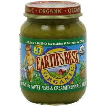 Earth's Best Organic Baby Food, Sweet Peas & Creamed Spinach Medley, 6 Ounce (Pack of 12)