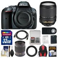Nikon D5300 Digital SLR Camera Body (Grey) with 18-140mm VR Zoom & 500mm Mirror Lens + 32GB Card + Backpack + Battery Kit