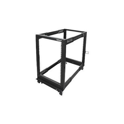 StarTech.com 12U Adjustable Depth Open Frame 4 Post Server Rack w/ Casters, Levelers and Cable Management Hooks - Relay