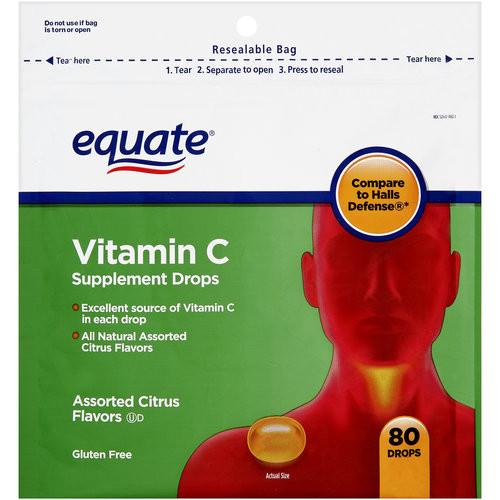 Equate Assorted Citrus Flavors Vitamin C Supplement Drops, 80 count
