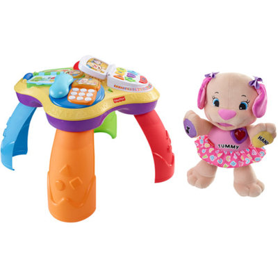 Fisher-Price Laugh & Learn Puppy & Friends Learning Table with Love to Play Sis