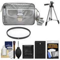 Nikon 1 Series Deluxe Digital Camera Case (Gray) with EN-EL20 Battery + UV Filter + Tripod + Accessory Kit for J1, J2, J3, S1, AW1