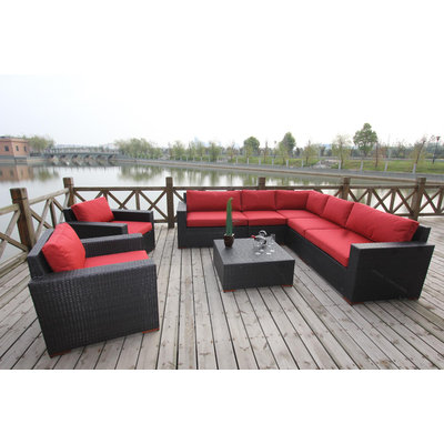 Bellini Pasadina 8 Piece Sectional Deep Seating Group with Cushion Fabric: Red