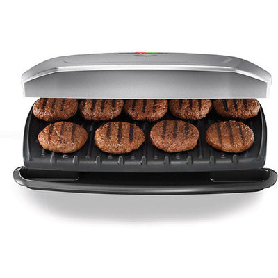 George Foreman 144-sq in 9 Serving, Classic-Plate Grill, Silver, GR2144P