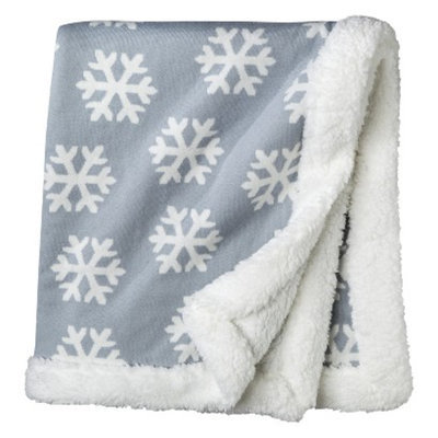 Circo Soft Winter Grey Baby Blanket with Twinkling White Snowflakes -