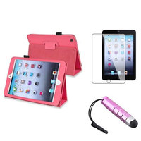 Insten iPad Mini 3/2/1 Case, by INSTEN Hot Pink For iPad Mini 1 2 3 Magnetic PU Leather Folio Case Cover Stand Sleep Wake