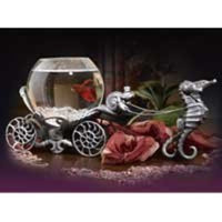 Betta Treasures Collection Enchanted Evening Betta Bowl in Old Pewter