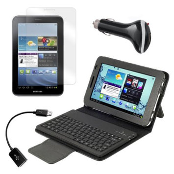 Bluetooth Keyboard Folio with Screen Protector, OTG Cable, and Car Charger for Samsung Galaxy Tab 2 7