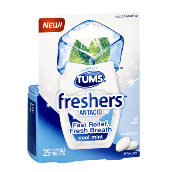 Tums Freshers Cool Mint Antacid Chewable Tablets - 25 CT