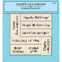 Target Rubber Stamp Set with Wood Handle - Happy Occasions