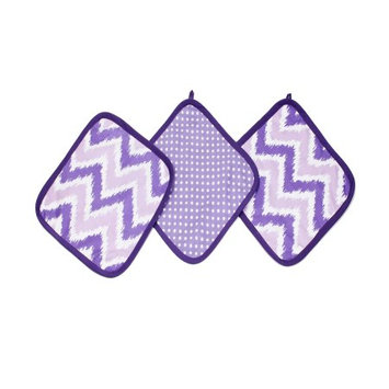 Bacati - MixNMatch Purple Zigzag 3 pc Wash Cloths