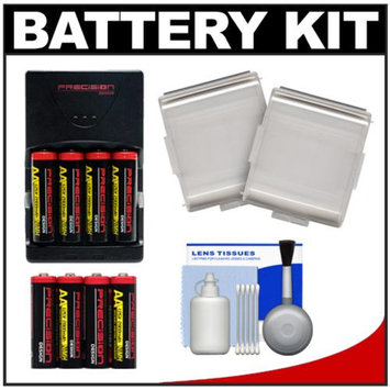 Precision Design (4) 2900 AA Batteries & Rapid Charger with 4 AA Batteries + Cleaning Kit + Battery Cases Kit