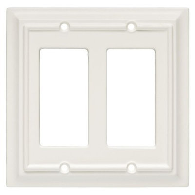 Brainerd Wood Architectural Double GFCI/Rocker Wall Plate - White