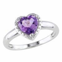 Amour Silver Amethyst Heart Cut Ring, 7, Purple, 1 ea