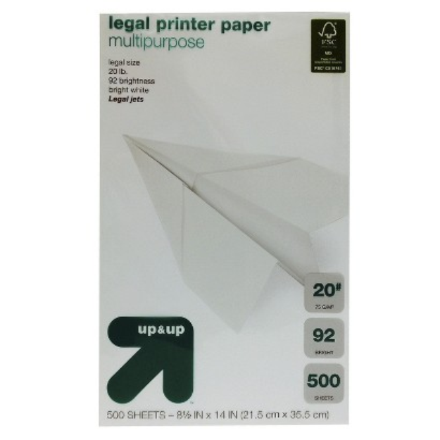 up & up Up & Up 500ct White Legal Printer Paper