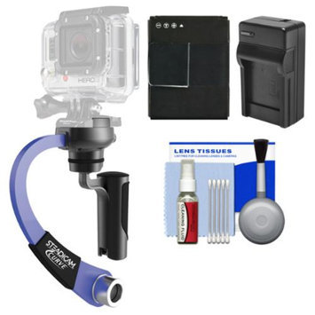 Steadicam Curve Compact Video Camera Stabilizer for GoPro (Blue) with HERO3 AHDBT-301 Battery & Charger + Accessory Kit