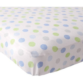 Luvable Friends Knit Fitted Crib Sheet - Blue Crosshatch Dots