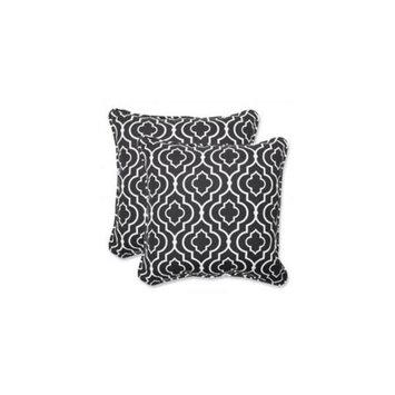 Pillow Perfect Outdoor 2-Piece Square Throw Pillow Set - Black/White Starlet