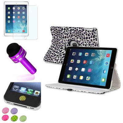 Insten INSTEN White/Purple Leopard 360 Leather Case Cover+Protector/Sticker For Apple iPad Air 5th