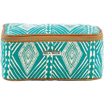 Bella Taylor Tahiti Teal Cosmetic Case Makeup Bag Overnight Kit Travel 4x8x4.5'