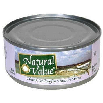 Natural Value Tuna, Yellowfin Chunk in Water, 6-Ounce Cans (Pack of 24)