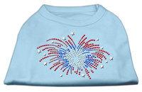 Mirage Pet Products 5229 LGBBL Fireworks Rhinestone Shirt Baby Blue L 14