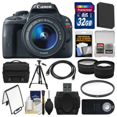Canon EOS Rebel SL1 Digital SLR Camera & EF-S 18-55mm IS STM Lens with 32GB Card + Case + Battery + Tripod + Tele/Wide Lens Kit
