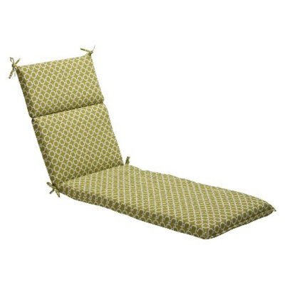 Pillow Perfect Outdoor Chaise Lounge Cushion - Green/White Geometric