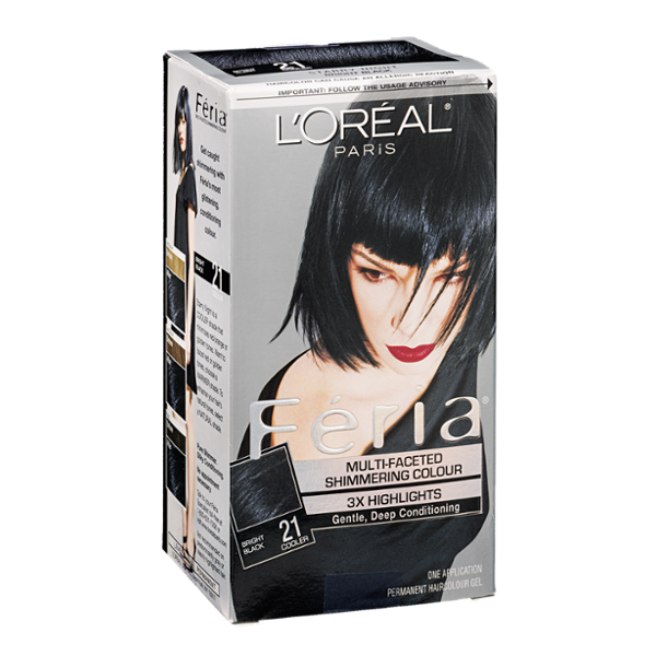 L'Oréal Paris Feria Permanent Haircolour Gel Bright Black 21 Cooler