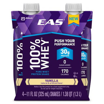 EAS 100% Whey Vanilla Pure Whey Protein Shakes, 11 fl oz, 4 count, (Pack of 3)