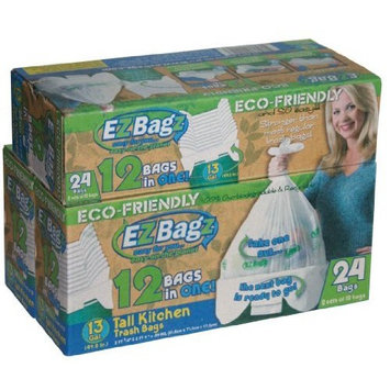 EZ Bagz EZ13TK 13-Gallon Tall Kitchen Trash Bags, 2-Set of 12 White Bags
