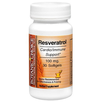 Botanic Choice Resveratrol 100 mg Herbal Supplement Softgels